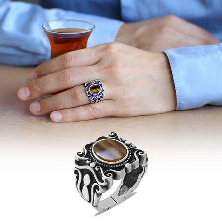Elegance Tasarım Kaplangözü Taşlı 925 Ayar Gümüş Erkek Yüzük - Thumbnail