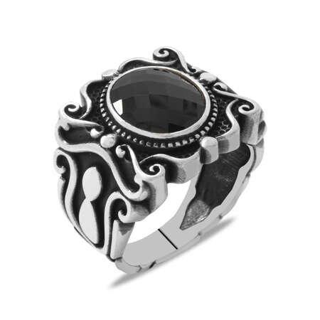 Elegance Tasarım Siyah Zirkon Taşlı 925 Ayar Gümüş Erkek Yüzük - Thumbnail