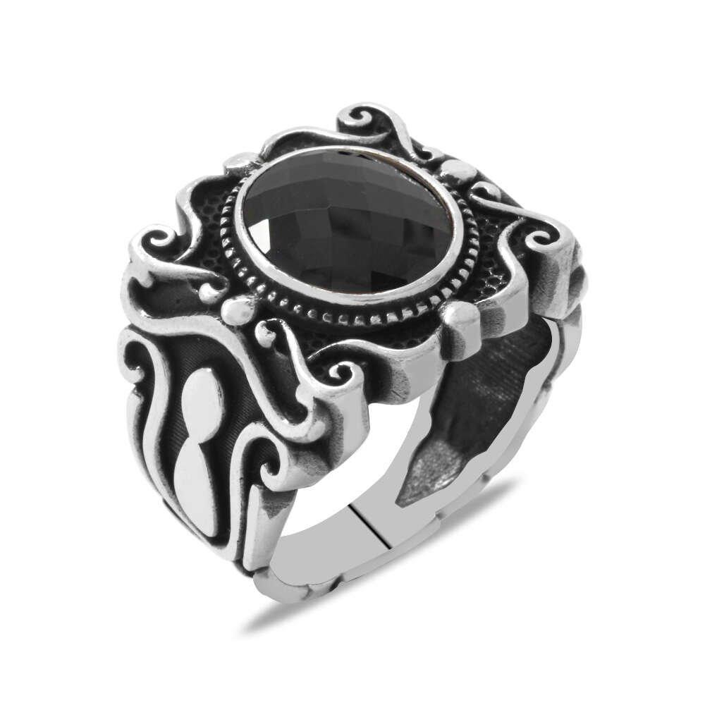 Elegance Tasarım Siyah Zirkon Taşlı 925 Ayar Gümüş Erkek Yüzük