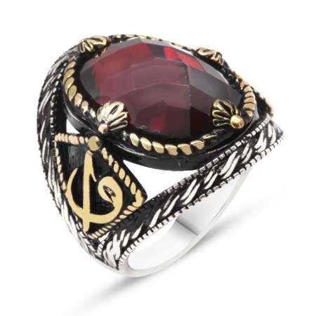 Elif Vav İşlemeli Kırmızı Oniks Taşlı 925 Ayar Gümüş Erkek Yüzük - Thumbnail