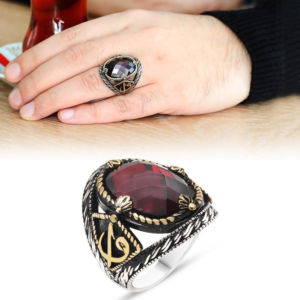 Elif Vav İşlemeli Kırmızı Oniks Taşlı 925 Ayar Gümüş Erkek Yüzük