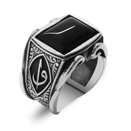 Elif-Vav Motifli Siyah Oniks Taşlı 925 Ayar Gümüş Erkek Yüzük - Thumbnail