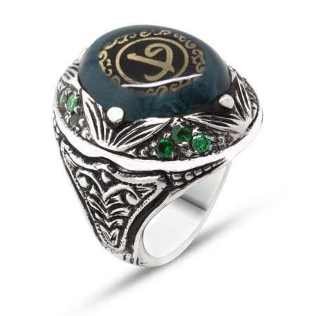 Elif Vav Yazılı Yeşil Sıkma Kehribar Taşlı 925 Ayar Gümüş Erkek Yüzük - Thumbnail