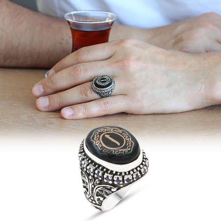 Elif Yazılı Mavi Sıkma Kehribar Taşlı 925 Ayar Gümüş Erkek Yüzük - Thumbnail