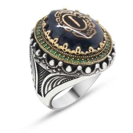 Elif Yazılı Yeşil Sıkma Kehribar Taşlı 925 Ayar Gümüş Erkek Yüzük - Thumbnail