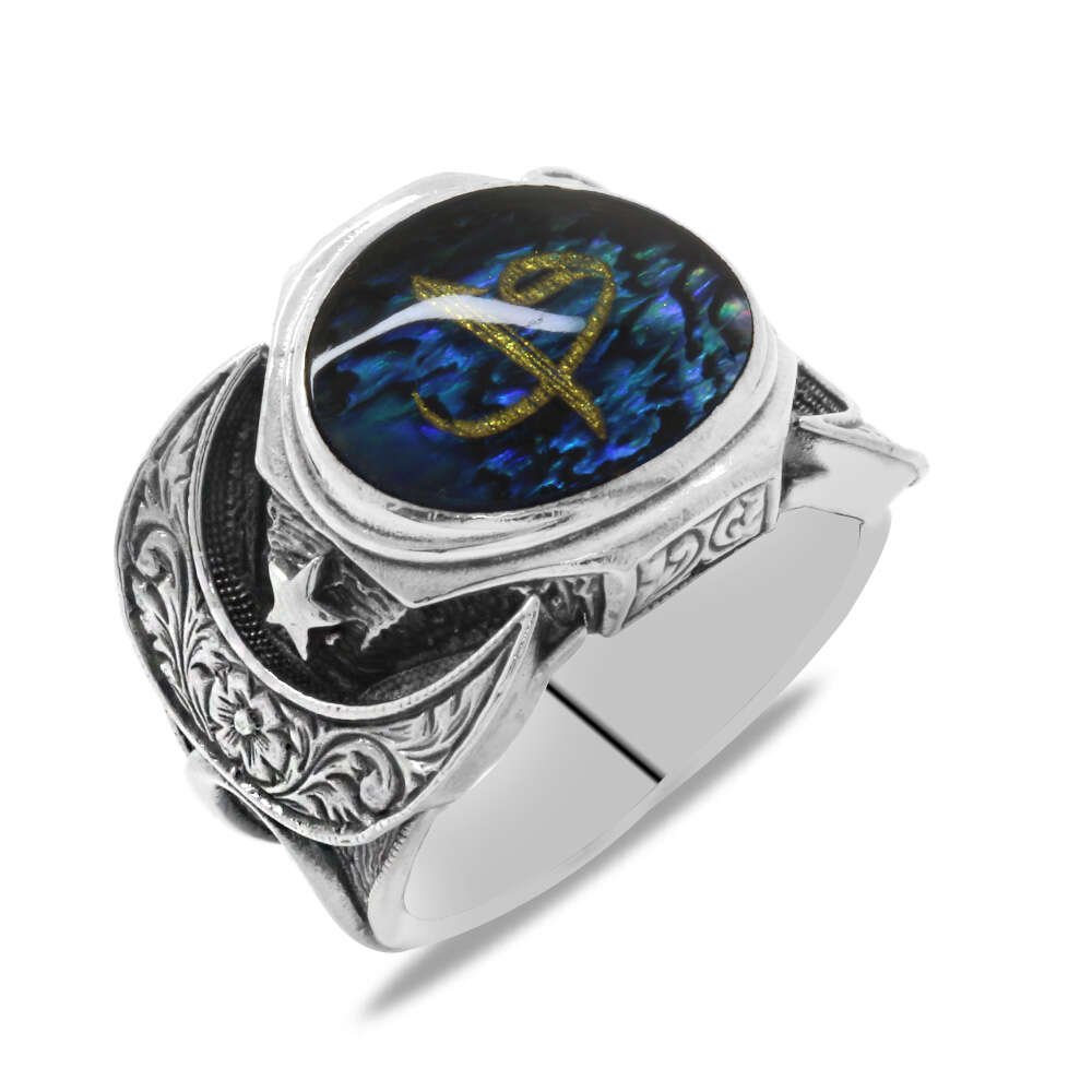 Elif&Vav Temalı Ayyıldız Detaylı Mavi Mineli 925 Ayar Gümüş Erkek Yüzük