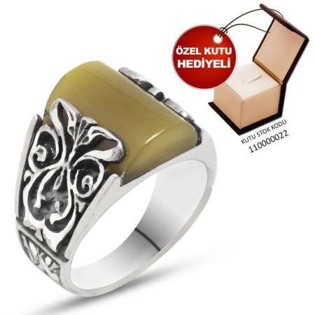 Erzurum El İşçiliği Açık Sarı Sıkma Kehribar Taşlı 925 Ayar Gümüş Erkek Yüzük - Thumbnail