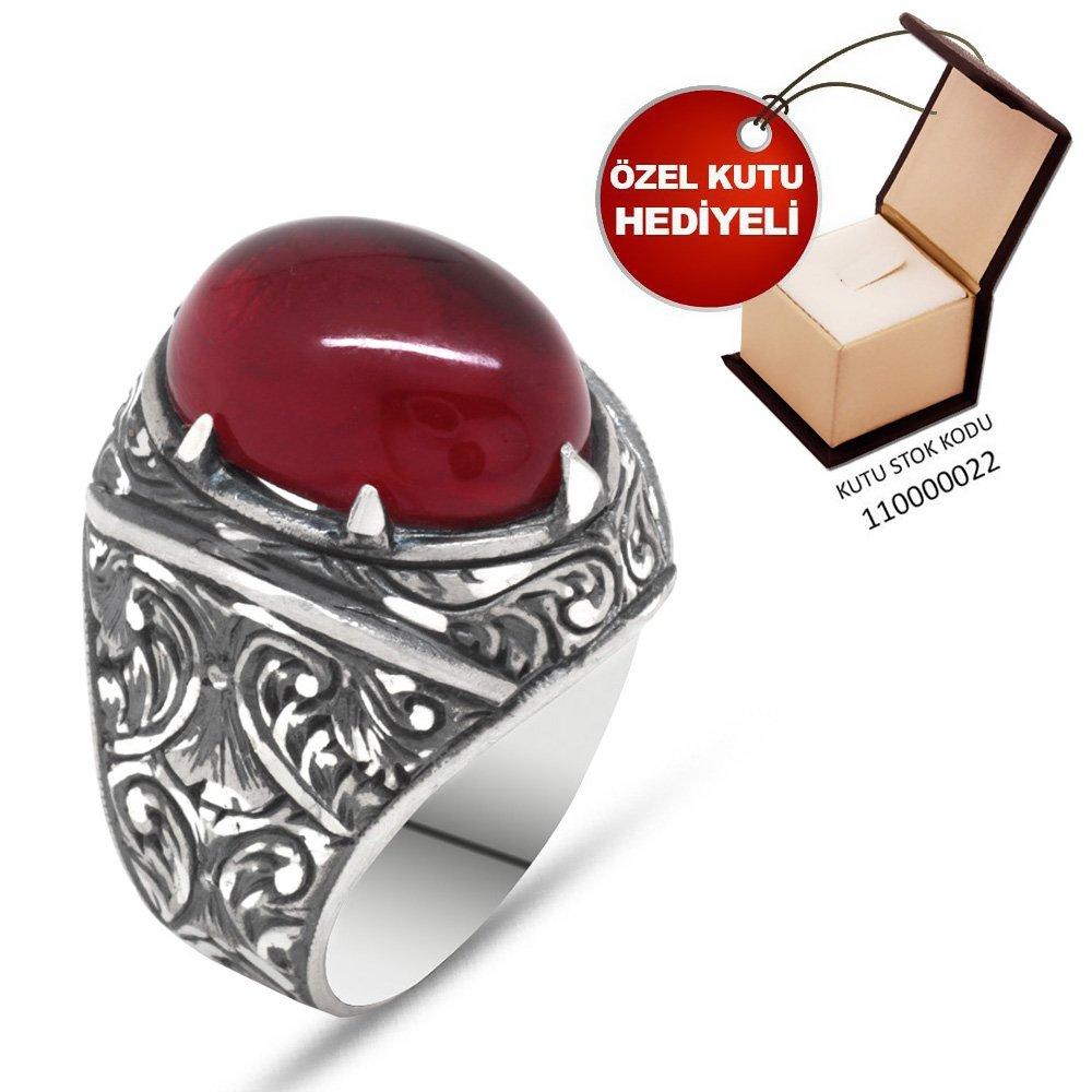 Erzurum El İşçiliği Bombeli Kırmızı Sıkma Kehribar Taşlı 925 Ayar Gümüş Yüzük