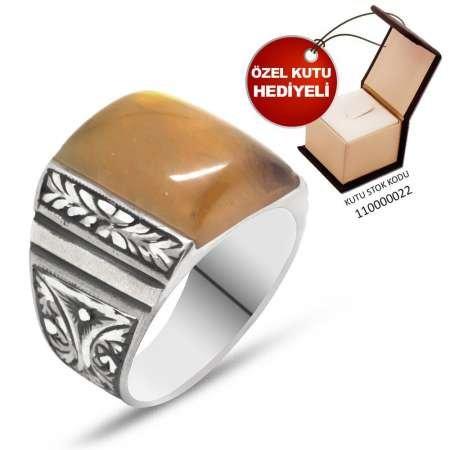 Erzurum El İşçiliği Bombeli Sarı Sıkma Kehribar Taşlı 925 Ayar Gümüş Erkek Yüzük - Thumbnail