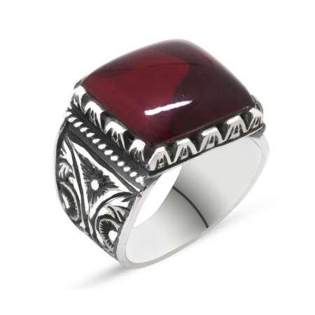Erzurum El İşçiliği Büyük Kırmızı Sıkma Kehribar Taşlı 925 Ayar Gümüş Yüzük - Thumbnail