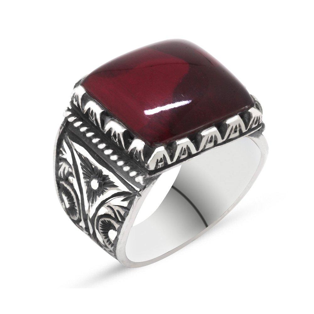 Erzurum El İşçiliği Büyük Kırmızı Sıkma Kehribar Taşlı 925 Ayar Gümüş Yüzük