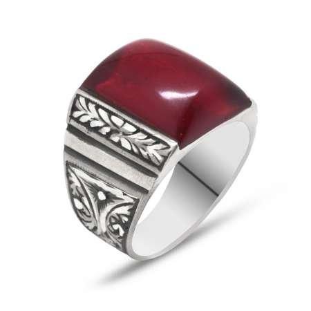 Erzurum El İşçiliği Dörtgen Kırmızı Sıkma Kehribar Taşlı 925 Ayar Gümüş Yüzük - Thumbnail
