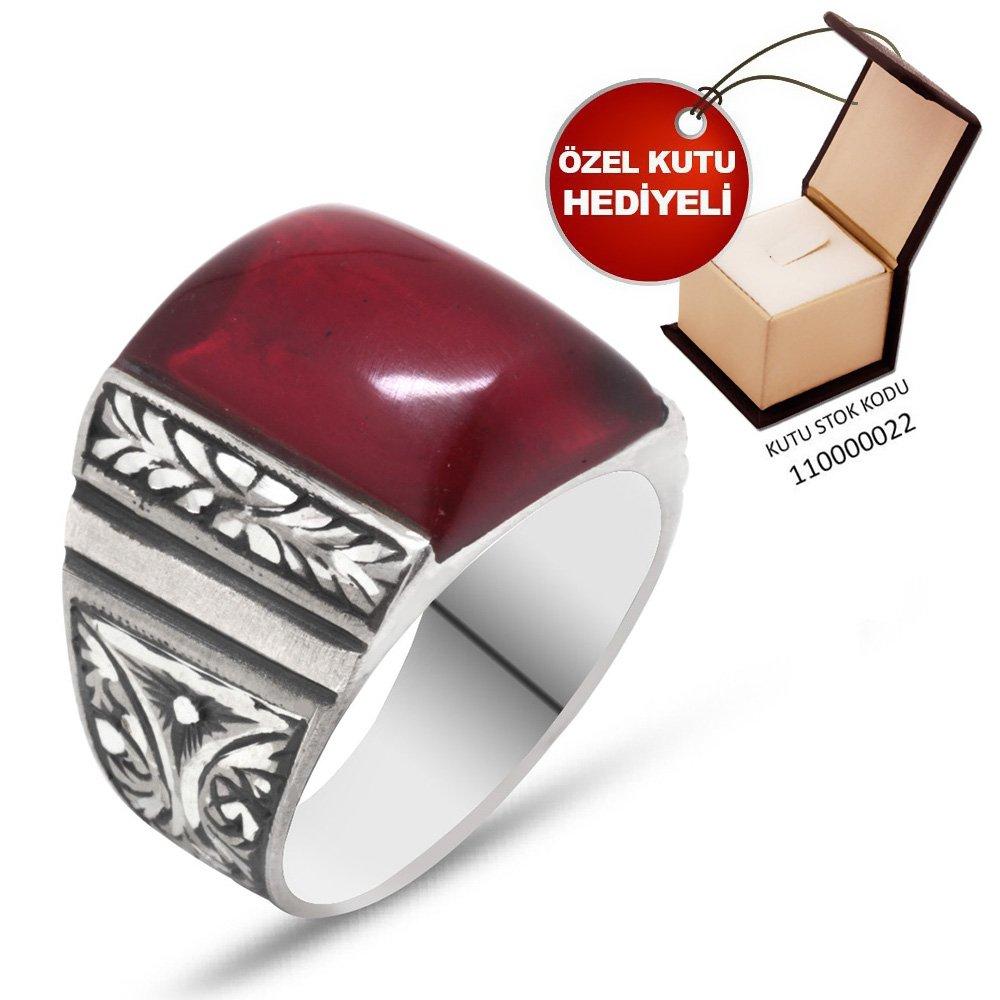 Erzurum El İşçiliği Dörtgen Kırmızı Sıkma Kehribar Taşlı 925 Ayar Gümüş Yüzük