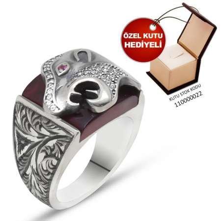 Erzurum El İşçiliği Kaplan Motifli K. Sıkma Kehribar Taşlı 925 Ayar Gümüş Yüzük - Thumbnail