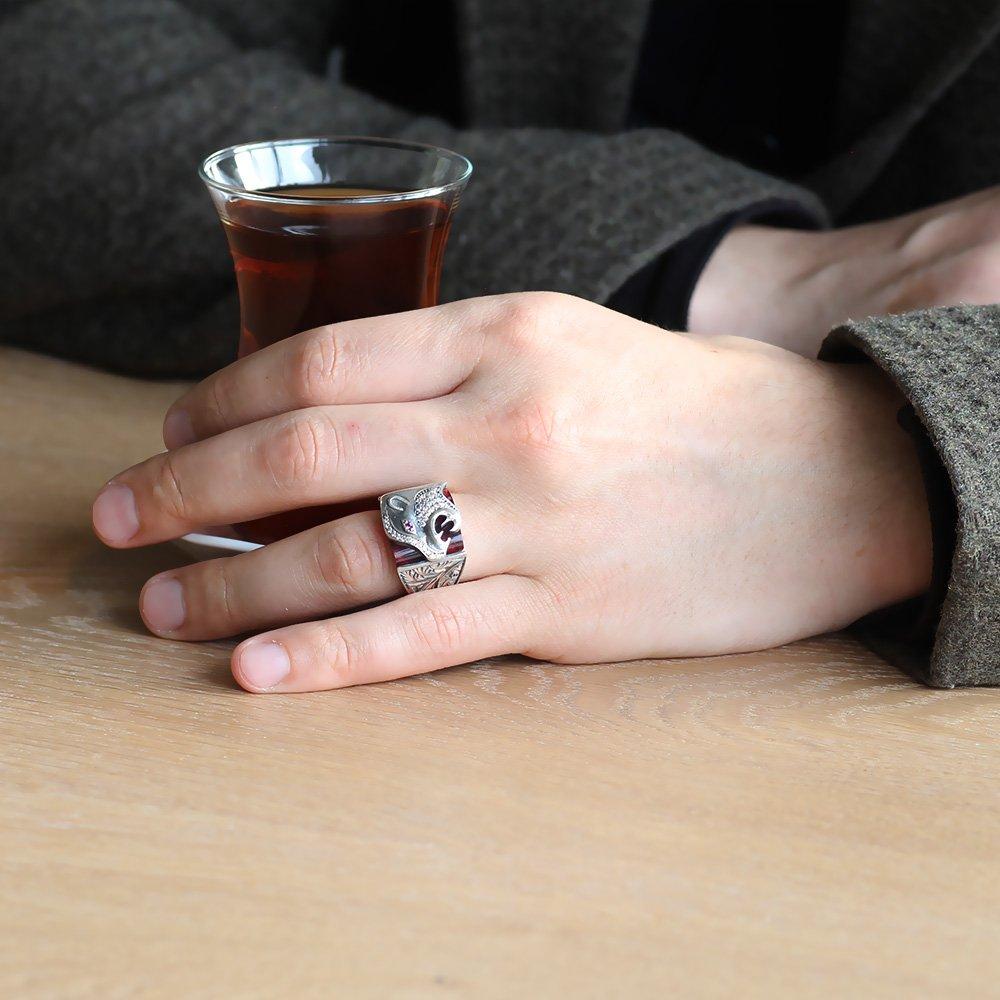 Erzurum El İşçiliği Kaplan Motifli K. Sıkma Kehribar Taşlı 925 Ayar Gümüş Yüzük