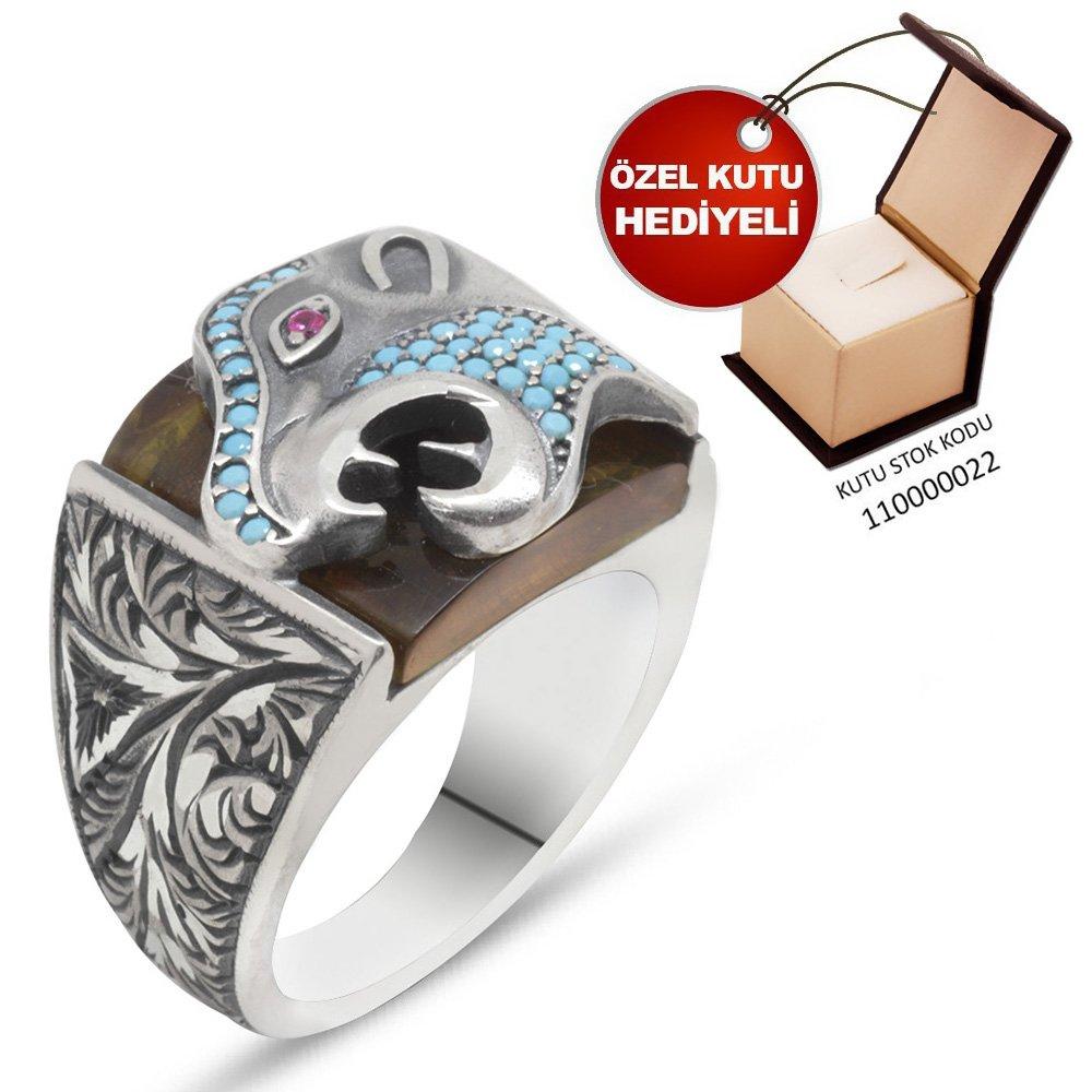 Erzurum El İşçiliği Kaplan Motifli SarıSıkma Kehribar Taşlı 925 Ayar Gümüş Yüzük