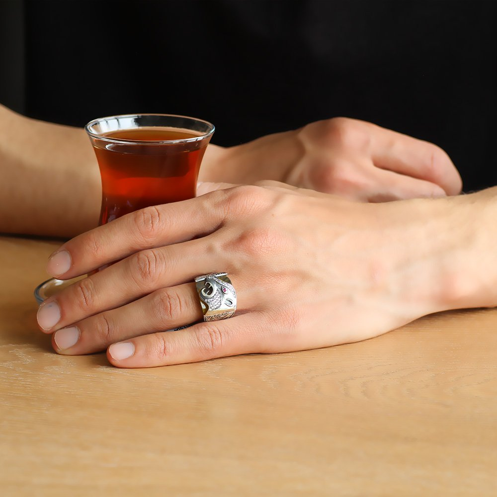 Erzurum El İşçiliği Kaplan Motifli Sıkma Kehribar Taşlı 925 Ayar Gümüş Yüzük