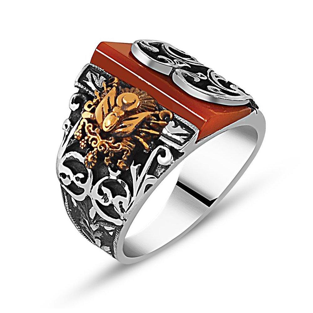 Erzurum El İşçiliği Kehribar Taşlı Gümüş Yüzük
