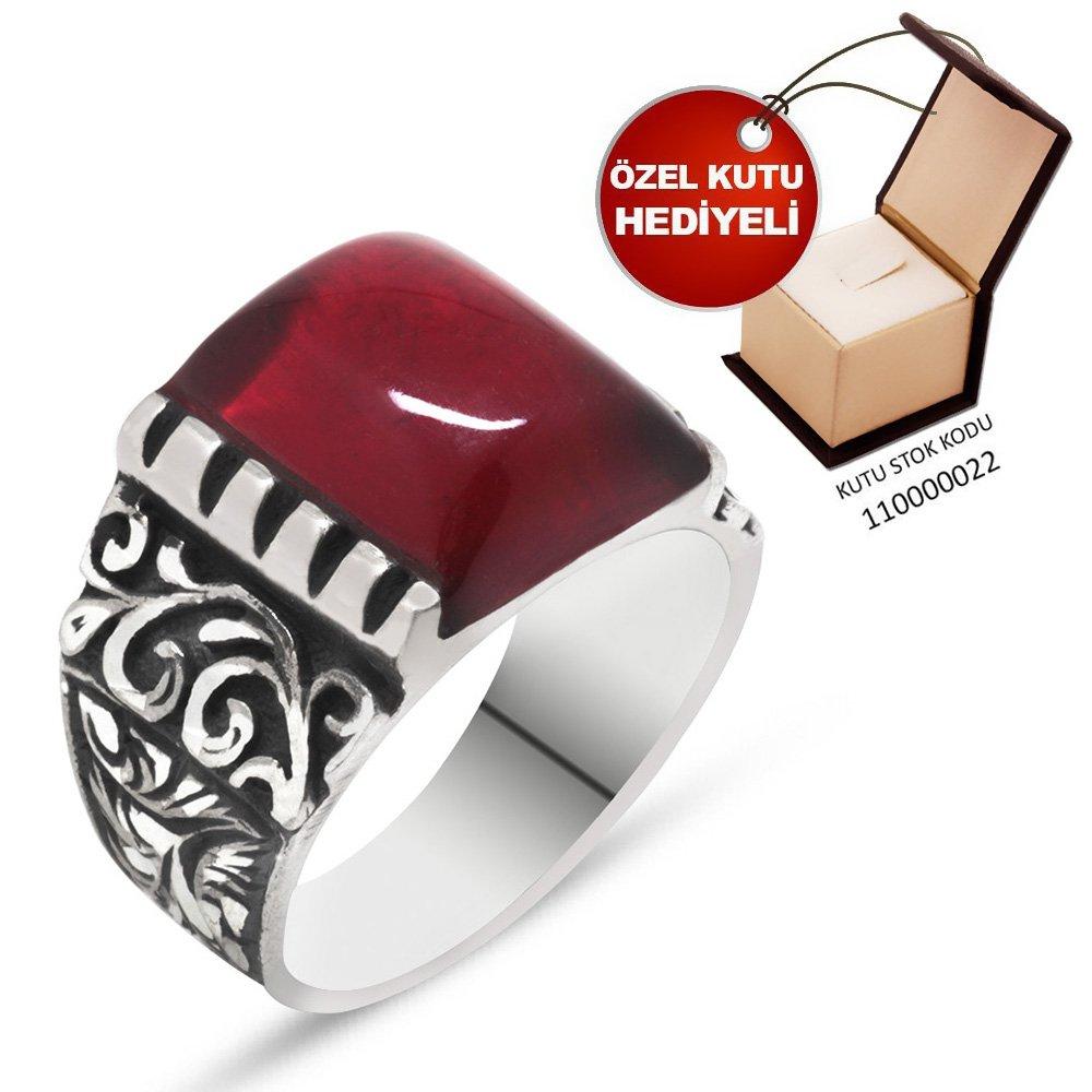 Erzurum El İşçiliği Kırmızı Sıkma Kehribar Taşlı 925 Ayar Gümüş Erkek Yüzük
