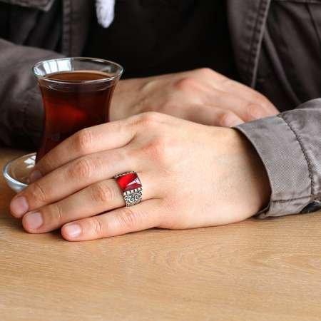 Erzurum El İşçiliği Kırmızı Sıkma Kehribar Taşlı 925 Ayar Gümüş Erkek Yüzük - Thumbnail