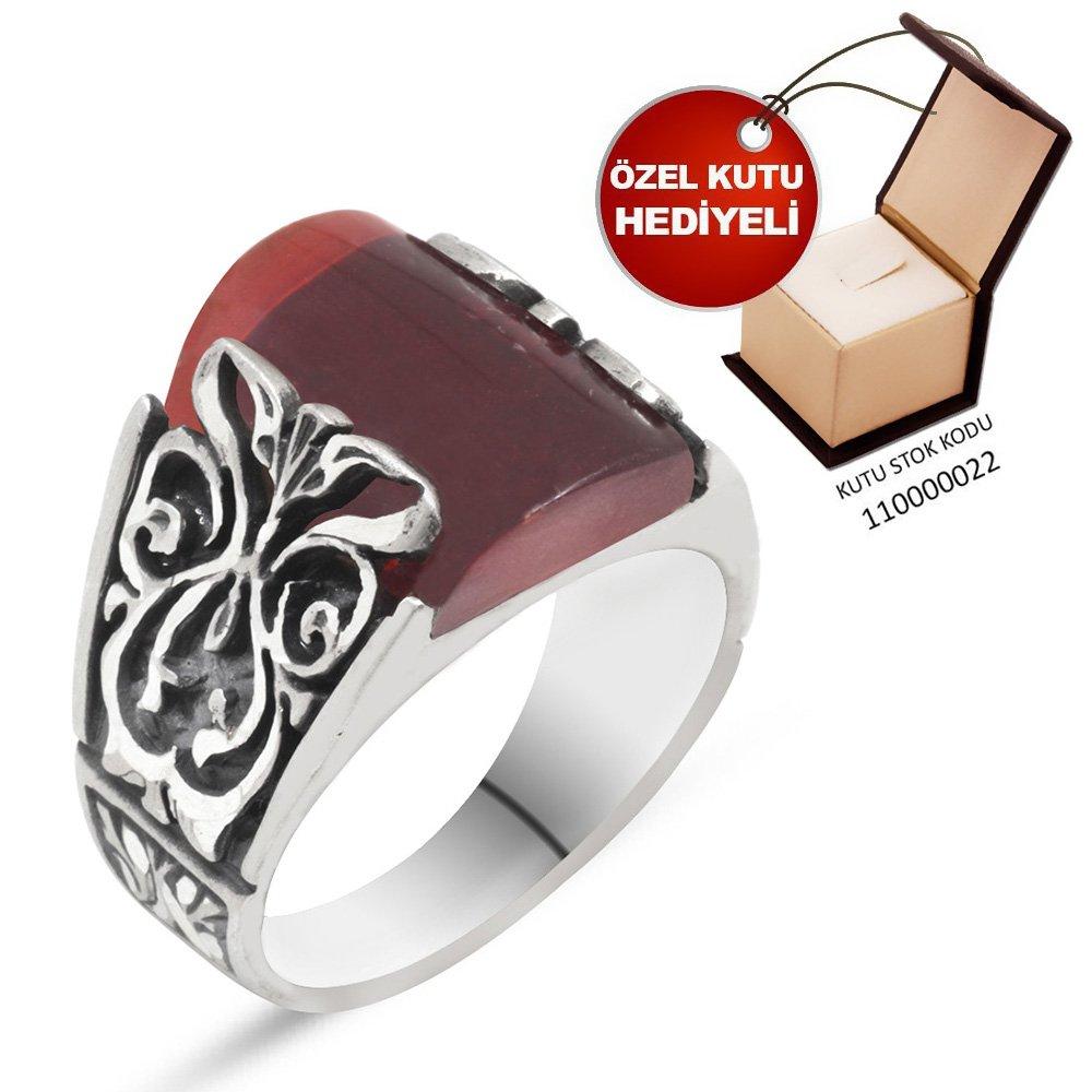 Erzurum El İşçiliği Küçük Koyu Kırmızı Sıkma Kehribar Taşlı 925 Ayar Gümüş Yüzük