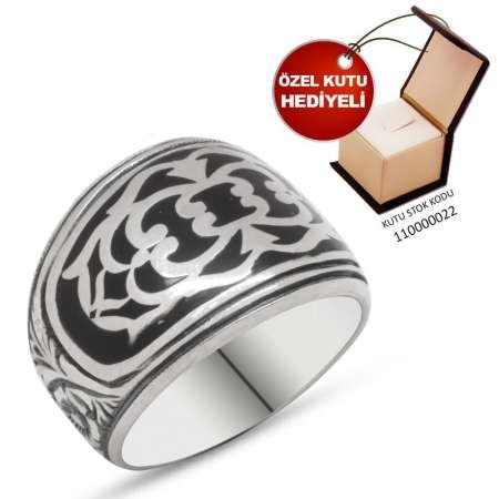 Erzurum El İşçiliği Mineli 925 Ayar Gümüş Erkek Yüzük - Thumbnail