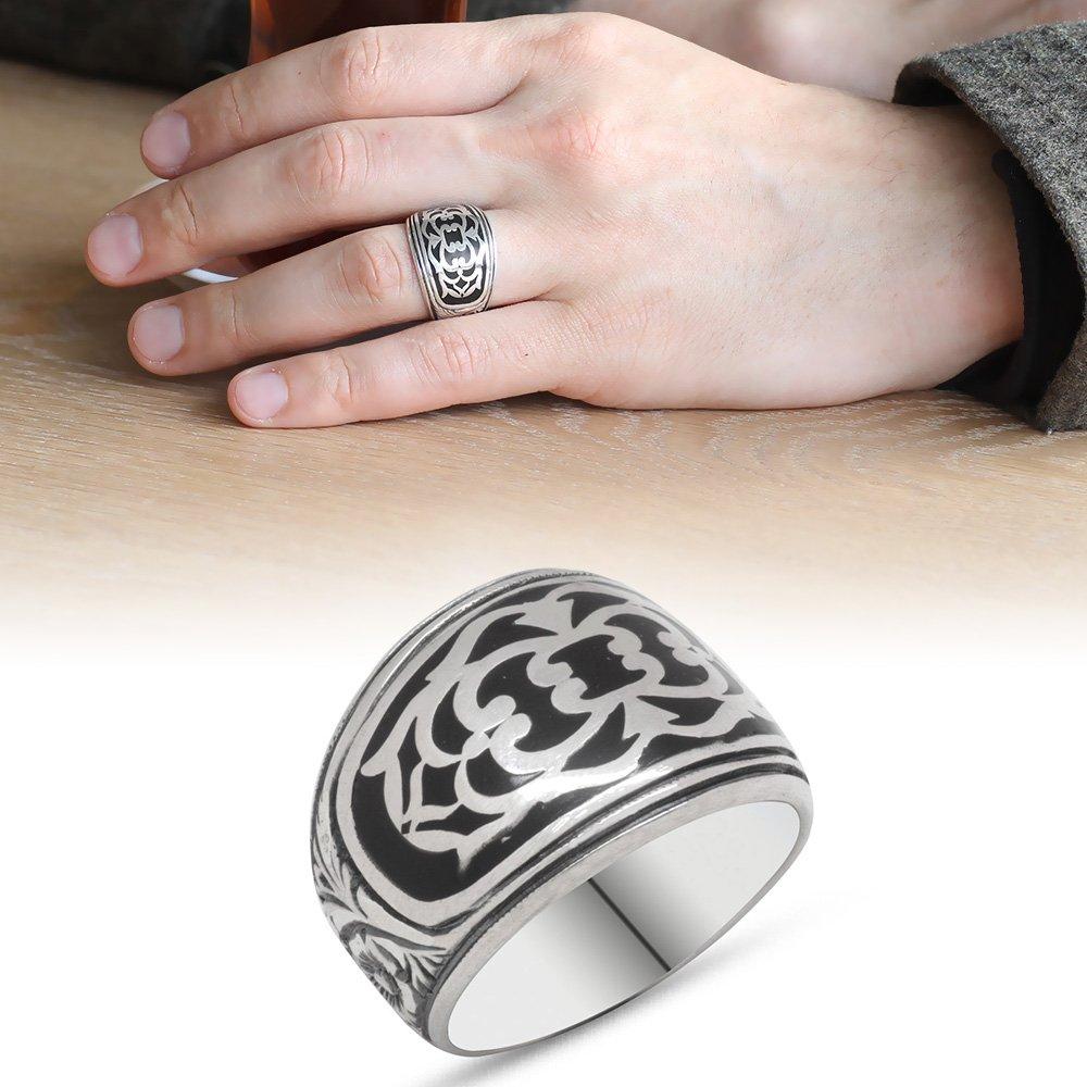 Erzurum El İşçiliği Mineli 925 Ayar Gümüş Erkek Yüzük