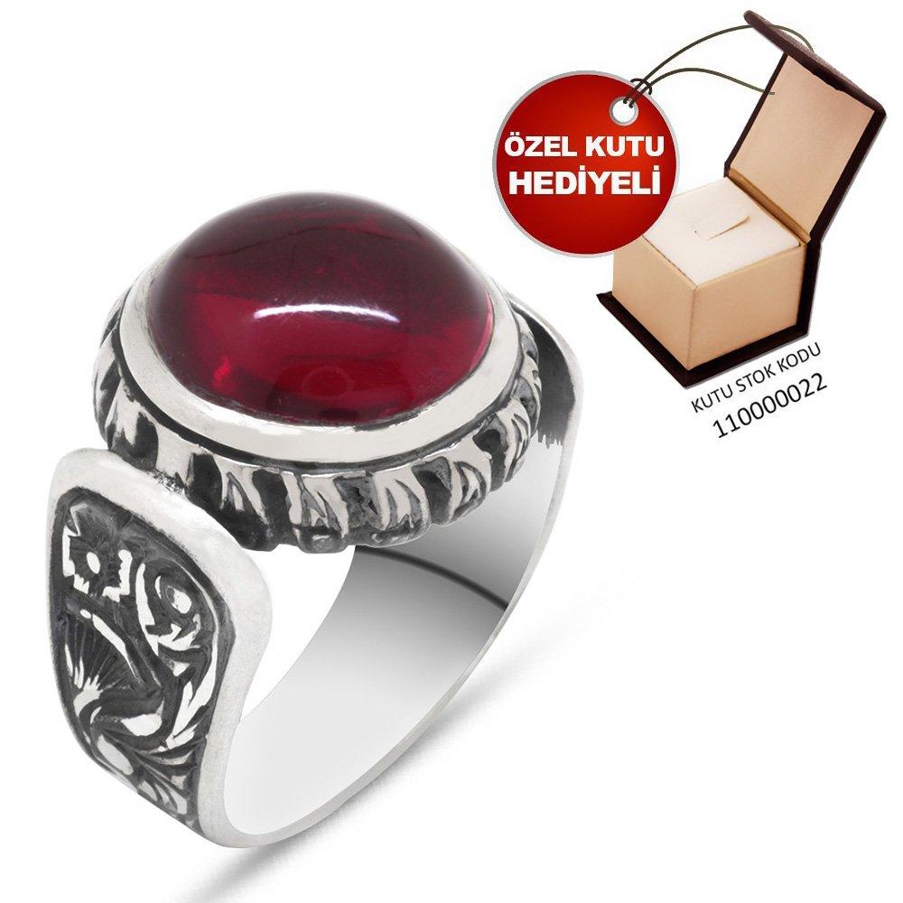 Erzurum El İşçiliği Oval Kırmızı Sıkma Kehribar Taşlı 925 Ayar Gümüş Erkek Yüzük