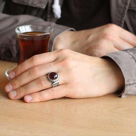 Erzurum El İşçiliği Oval Kırmızı Sıkma Kehribar Taşlı 925 Ayar Gümüş Erkek Yüzük - Thumbnail