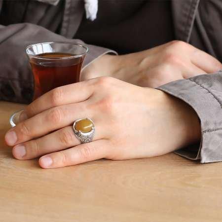Erzurum El İşçiliği Oval Sarı Sıkma Kehribar Taşlı 925 Ayar Gümüş Erkek Yüzük - Thumbnail