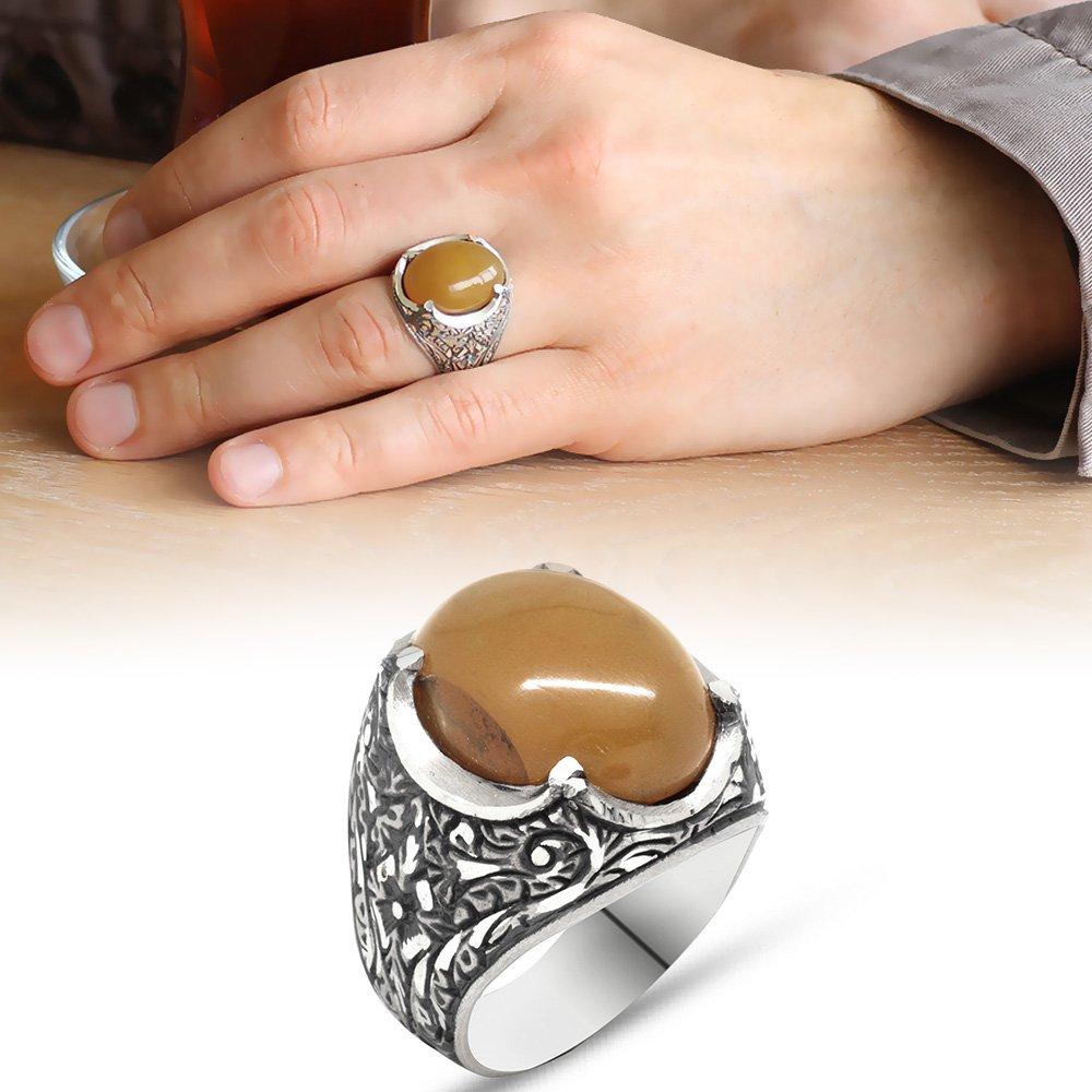 Erzurum El İşçiliği Oval Sarı Sıkma Kehribar Taşlı 925 Ayar Gümüş Erkek Yüzük