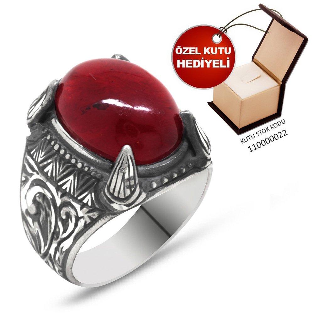 Erzurum El İşçiliği Pençe Tasarım Sıkma Kehribar Taşlı 925 Ayar Gümüş Yüzük