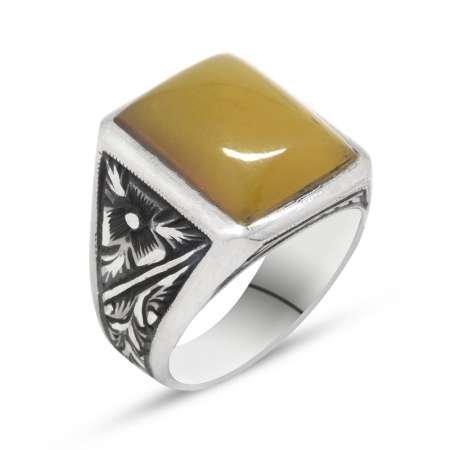 Erzurum El İşçiliği Sarı Sıkma Kehribar Taşlı 925 Ayar Gümüş Erkek Yüzük - Thumbnail