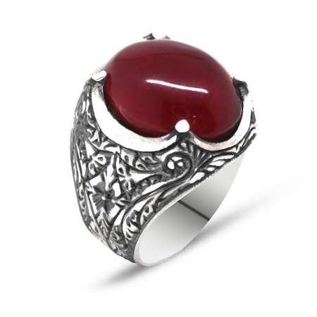 Erzurum El İşçiliği Tırnaklı KırmızıSıkma Kehribar Taşlı 925 Ayar Gümüş Yüzük M2 - Thumbnail