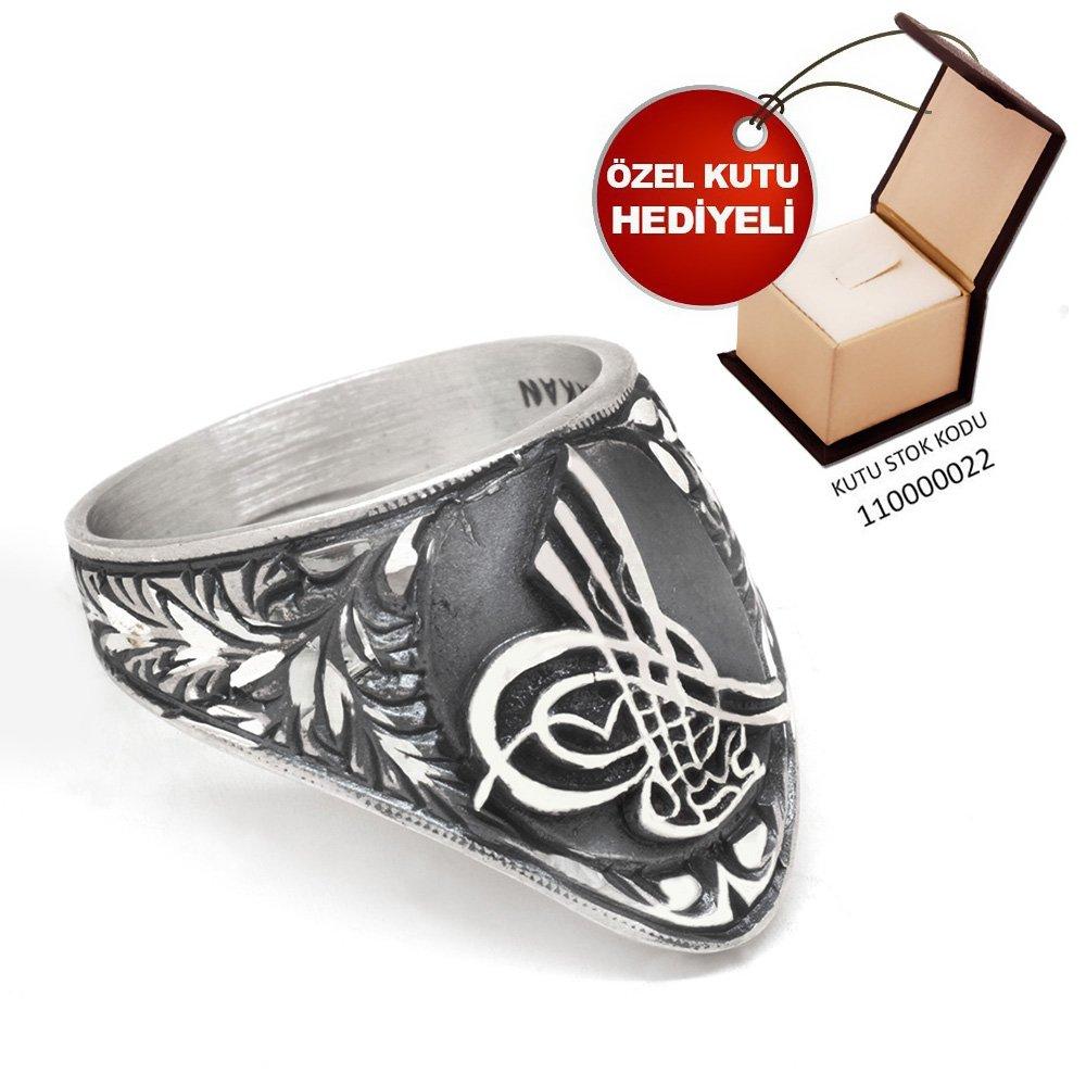 Erzurum El İşçiliği Tuğra Motifli 925 Ayar Gümüş Okçu (Zihgir) Yüzüğü