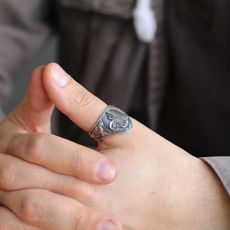 Erzurum El İşçiliği Tuğra Motifli 925 Ayar Gümüş Okçu (Zihgir) Yüzüğü - Thumbnail