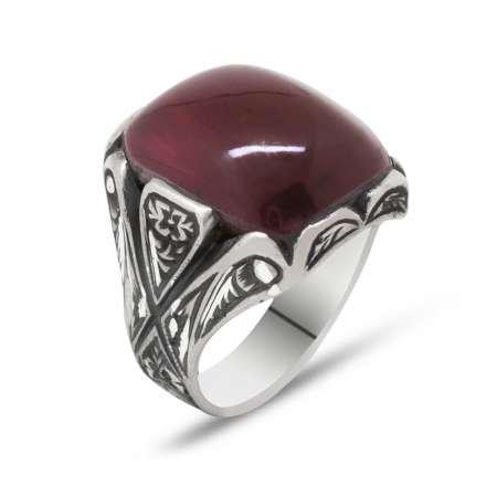 Erzurum El İşçiliği V Tasarım Kırmızı Sıkma Kehribar Taşlı 925 Ayar Gümüş Yüzük - Thumbnail