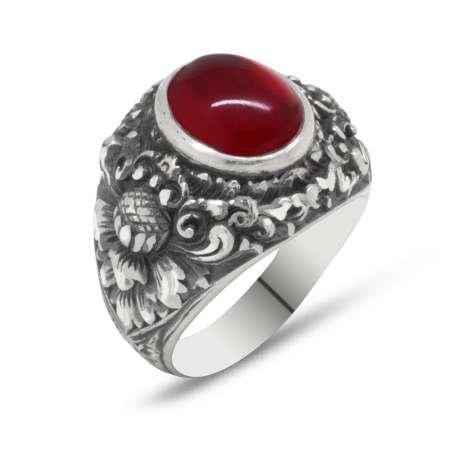 Erzurum El İşçiliği Yuvarlak Kırmızı Sıkma Kehribar Taşlı 925 Ayar Gümüş Yüzük - Thumbnail