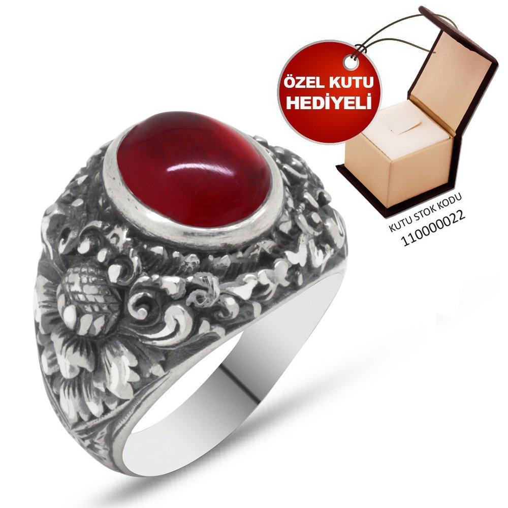 Erzurum El İşçiliği Yuvarlak Kırmızı Sıkma Kehribar Taşlı 925 Ayar Gümüş Yüzük