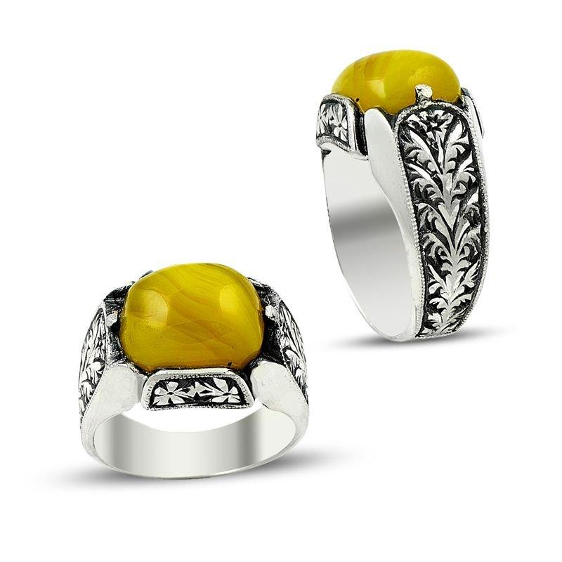 Erzurum El İşi 925 Sarı Sıkma Kehribarlı Gümüş Yüzük