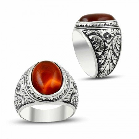 Erzurum El İşi Akik Taşlı 925 Ayar Gümüş Yüzük - Thumbnail