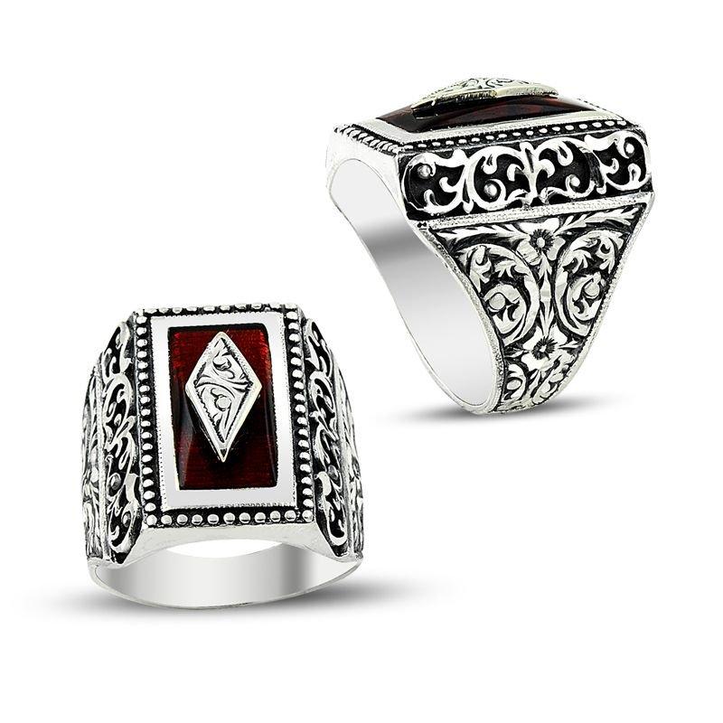 Erzurum El İşi Ateş Kehribarlı 925 Ayar Gümüş Yüzük