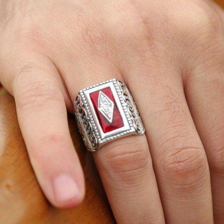 Erzurum El İşi Ateş Kehribarlı 925 Ayar Gümüş Yüzük - Thumbnail