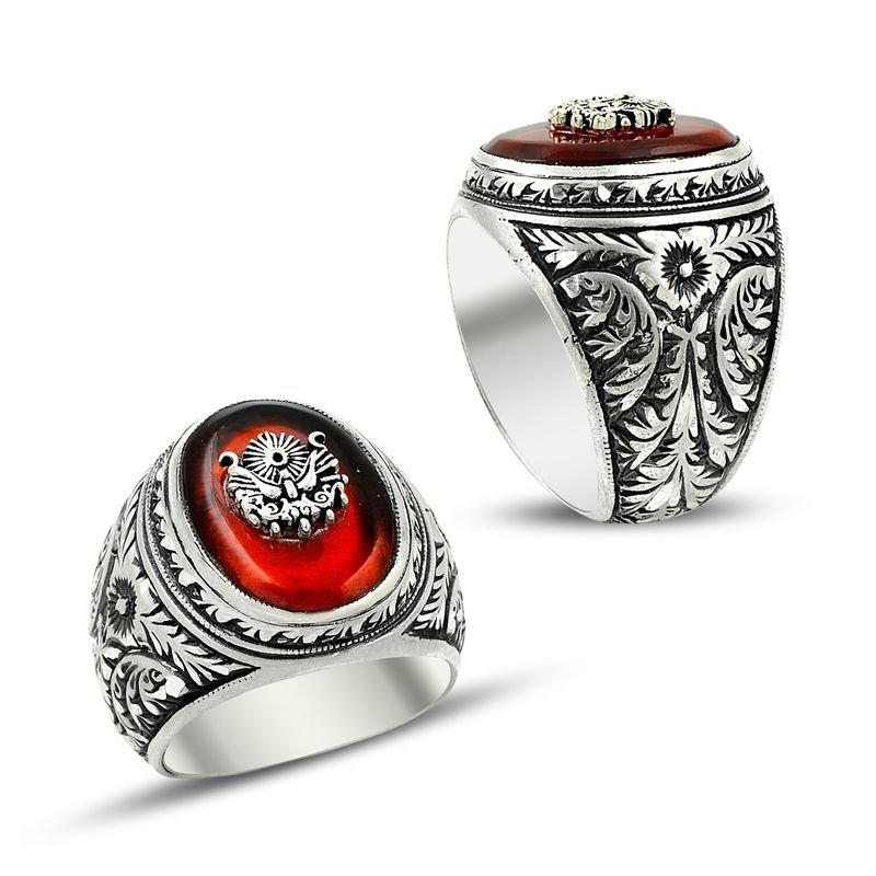 Erzurum El İşi Ateş Kehribarlı Gümüş Yüzük