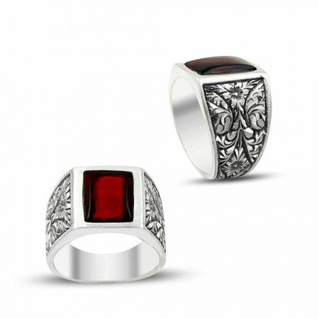 Erzurum El İşi Ateş Kehribarlı Gümüş Yüzük - Thumbnail