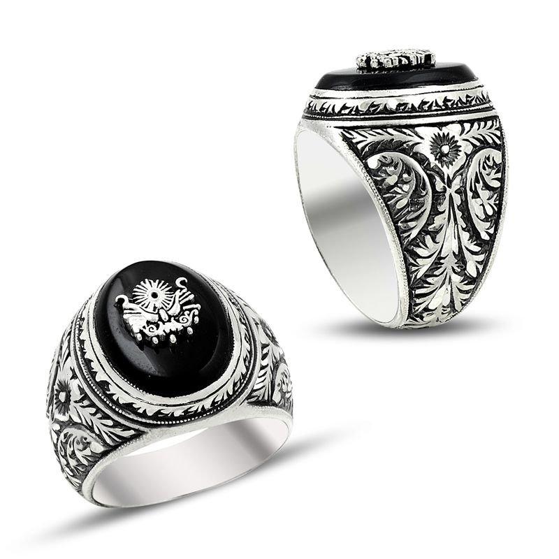 Erzurum El İşi Devlet Armalı Mineli Gümüş Yüzük