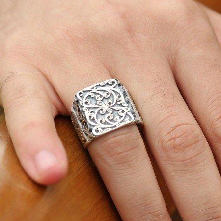 Erzurum El İşi Kalem İşçilikli Gümüş Yüzük - Thumbnail