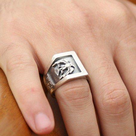 Erzurum El İşi Kalem İşçilikli Selçuklu Kartallı Gümüş Yüzük - Thumbnail