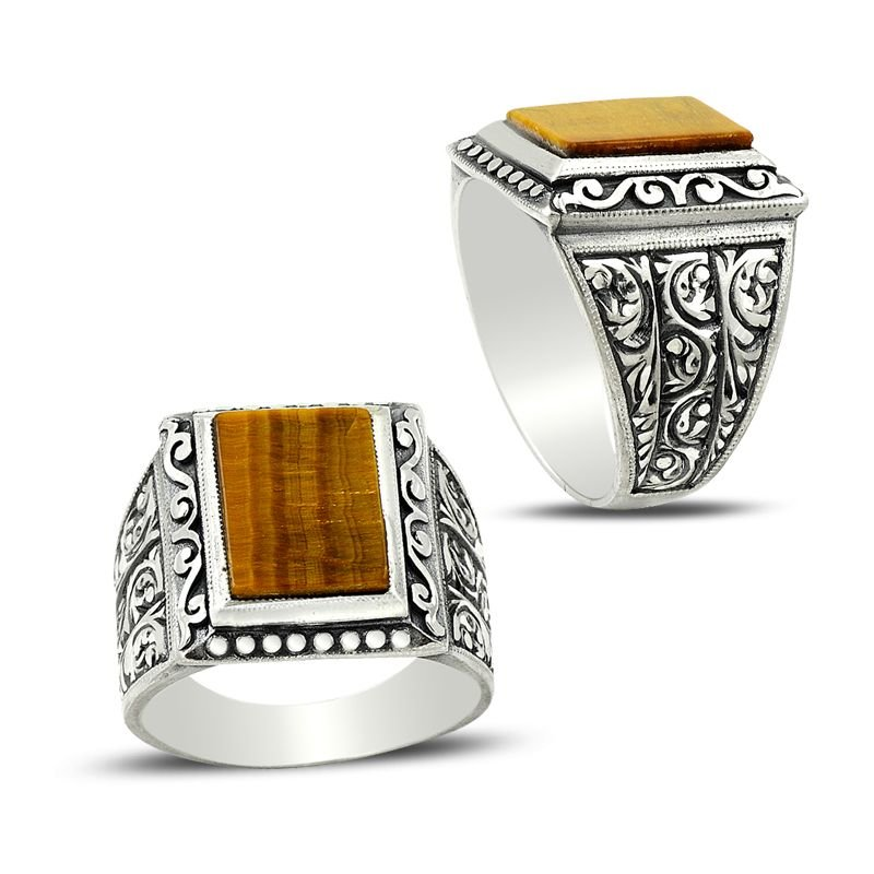 Erzurum El İşi Kaplangözü Taşlı Gümüş Yüzük