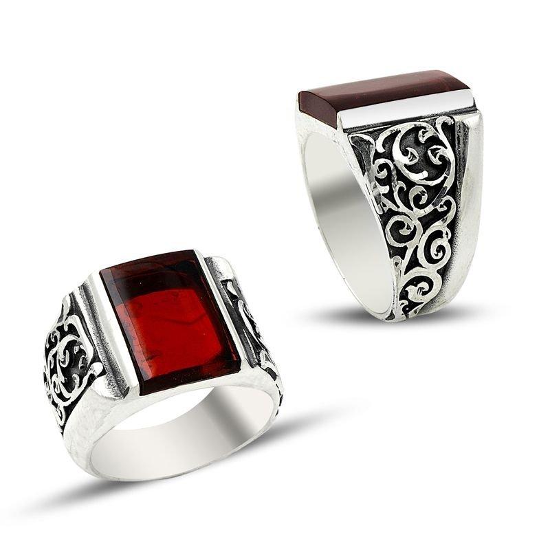 Erzurum El İşi Kırmızı Ateş Kehribarlı Gümüş Yüzük